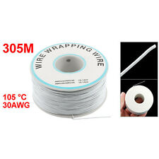 305M White PVC Coated Tin Plated Copper Wire Wire-Wrapping 30AWG Cable Roll A8Y3