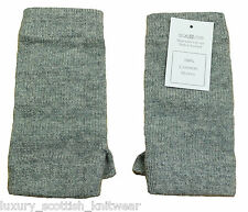 Johnstons 100% Pure Cashmere Wrist Warmers Soft Grey Made in Scotland
