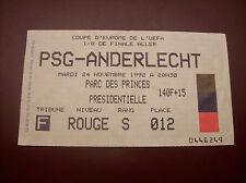 TICKET PSG - ANDERLECHT 24/11/1992 C3