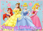 DISNEY Princess Belle Cinderella Pink Happy Birthday Party A4 ICING Cake Toppers