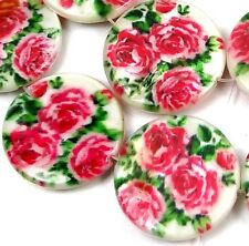 20mm Pink Rose Flower Mother Of Pearl Disc MOP Beads 16""
