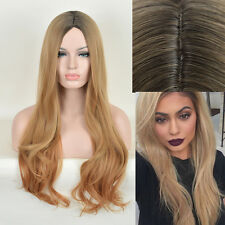 Kylie Jenner Hairstyle Wig Long Natural Curly Black Root Blonde Strawberry Wigs
