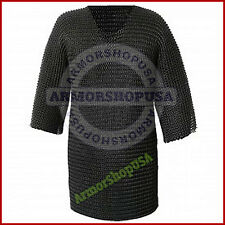 BUTTED CHAIN MAIL SHIRT BLACK MEDIUM HAUBERK MEDIEVAL CHAINMAIL ARMOR COSTUME