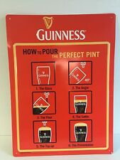 "Guinness How To Pour The Perfect Pint Tin Sign NEW (Minor Blems.) F/S 19"" x 14"""