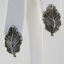 Buccellati Blossoms Oak Leaf Earrings Button Omega Backs Sterling Silver NWOT