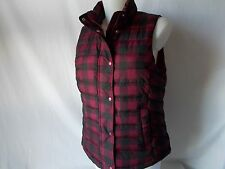 NWT GAP Warmest Puffer VEST Full Zip & Snap PURPLE BLACK PLAID Womens L Jacket