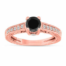 Enhanced Black Diamond Engagement Ring 14K Rose Gold Antique Style 1.20 Carat