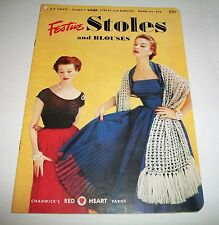 VINTAGE PATTERN LEAFLET BOOK 1952 COATS CLARKS CROCHET FESTIVE STOLES BLOUSES