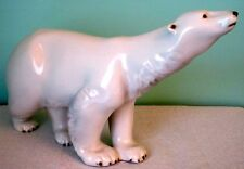 Royal Dux Bohemia Stunning Midcentury Large Polar Bear White Porcelain Figurine