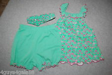 Baby Girls DRESS BLOOMERS HEADBAND 3 Pc Set MINT GREEN Pink Flowers 3-6 MO