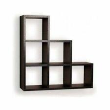 Floating Wall Shelf Display Black Wood Shelves Corner Storage Home Decor NEW