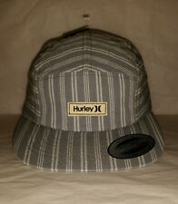 "New w/Tag HURLEY Patch Logo Cap Slide Buckle Back Strap Yupoong Striped ""Warf"""