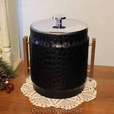 Classy & Retro BLACK LEATHER-LOOK ICE BUCKET Wood Handles ~ Crocodile Print