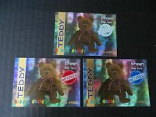Ty Beanie Babies BBOC Series I S1 ~ Red Blue Silver Retired Card 21 Brown Teddy