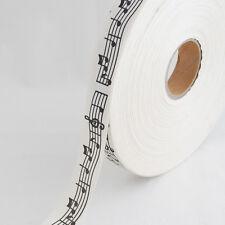 Cotton Fabric Ribbon - Sewing Label - Music Staff - Black