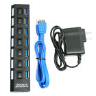 7 Port USB 3.0 Hub On/Off Switches + AC Power Adapter Cable for PC Laptop -Black