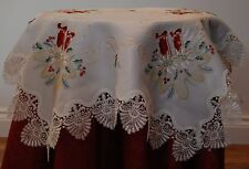 EMBROIDERED POLYESTER SMALL SQUARE FESTIVE CHRISTMAS TABLE CLOTH WITH COLOUR