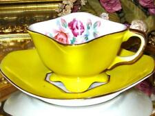 Striking Occupied Japan YELLOW PAINTED ROSES Square Demi Tea Cup & Saucer