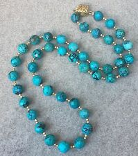 Vintage Faceted Turquoise 11 mm Gold Bead Necklace  28 inches long