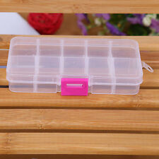 10 Grids Adjustable Jewelry Beads Pills Nail Art Storage Box Case WH Free Ship Z