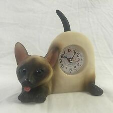 EASTER SALE!!  Critter Clock Siamese Cat Tabletop Wagging Tail Kitten Kitty