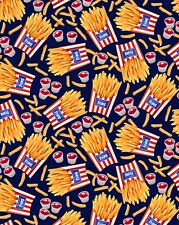 Fat Quarter Take Out Fries Chips Food 100% Cotton Quilting Fabric