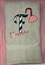 Personalized Embroidered Pirate Hook Sword Fabric Applique Letter Bath Towel