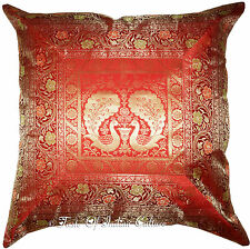 "XL Red 24"" Brocade Floor Pillow Cushion Cover Silk Brocade Peacock Throw INDIAN"