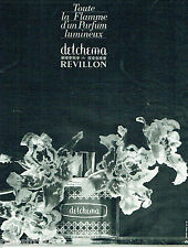 PUBLICITE ADVERTISING 115  1963  Detchema  parfum femme REVILLON
