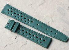 Racing green Swiss vintage 18mm leather perforated strap 1960s/70s New Old Stock