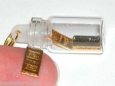 1pc miniature dollhouse Glass Bottle with tiny little Golden bars gold money New