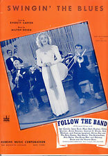 "FOLLOW THE BAND Sheet Music ""Swingin' The Blues"" Mary Beth Hughes Eddie Quillan"