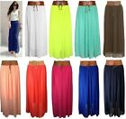 Lz25 Ladies Women Girls Designer Chiffon Skirt Long Skirt Belted Waist Maxi