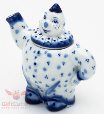 Porcelain Gzhel teapot clown server handmade in Russia