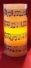 "NEW Flameless LED Flickering Christmas Candle  Music Score Print Design  6"" x 3"""