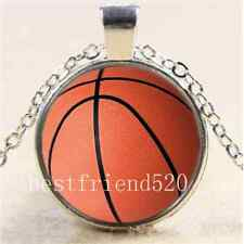 Basketball Photo Cabochon Glass Tibet Silver Chain Pendant  Necklace