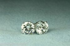 3.00 CT Round Brilliant Cut  Stud Earrings Basket Set 14K Gold