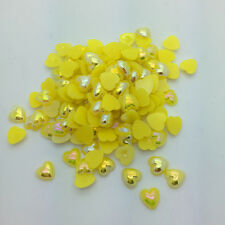 New 100pcs 8mm Heart-Shaped Pearl Bead Flat Back Scrapbook For Craft Yellow