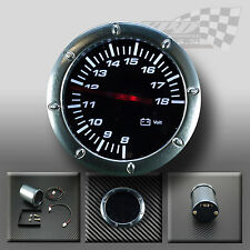 "WHITE LED VOLT 52MM / 2"" SMOKED FACE GAUGE FOR DASH OR POD HOLDER"