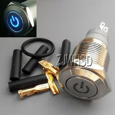 16mm 12V BLUE Led Lighted Push Button Metal ON-OFF Lock Switch Connector O-ring