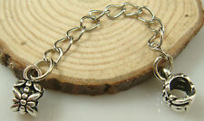 Fashion White Plated Clip Safety Chain Bead Fit European Charm Bracelet a2if