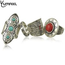 Silver Turkish 4 Ring set,Turquoise&Red stone,Vintage feel,Festival,Hippy Boho.