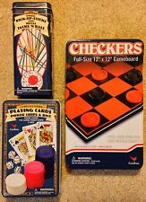 Cardinal Ind. Tin Box Games Checkers, Pick-Up Sticks, Playing Cards, Poker Chips