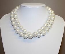 Signed Monet Chunky Large White Bead Faux Pearl MONET Necklace Vintage Estate