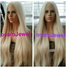 Long platinum light. Thick human hair blend. Lace front wig. Swiss lace