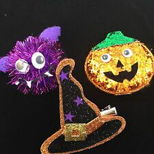 Halloween Hair Grips - 3 Pack - Pumpkin Witch Bat Glitter Slides Clips Primark