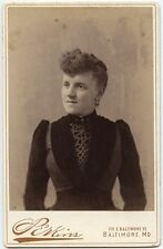 YOUNG LADY IN BEAUTIFUL DRESS BY PERKINS, BALTIMORE, MD, CABINET CARD