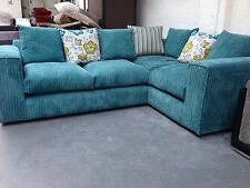 New Zina Sq Arm Fabric Corner Sofa / Suite, Teal  with Pattern Scatter Cushions