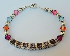 Personalized Mothers Grandmothers Name Birthstone Bracelet Sterling Silver Bead