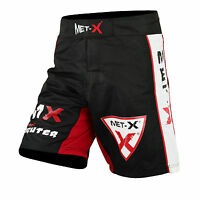 Met-X MMA Fight Shorts Grappling Short Kick Boxing Cage Fighting Shorts Black
